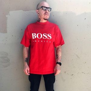 Other - Vintage 90's Red Hugo Boss America T-Shirt